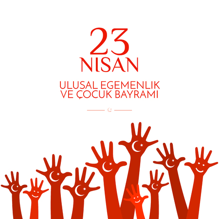 Banner National Children's Day in Turkey Children's hands with a month and a star on the red background of the national flag of Turkey A festive patriotic poster on Turkish republic holidays Vector Illustration