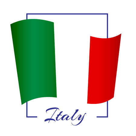 The national flag of Italy in a rectangular frame with the name of the country Background Vector