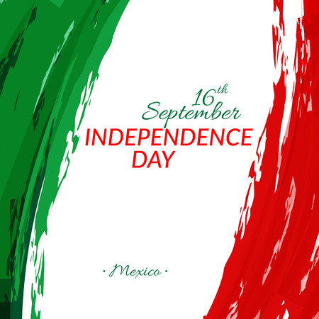 Independence Day of Mexico September 16 against the background of the national flag of Mexico Watercolor style Vector