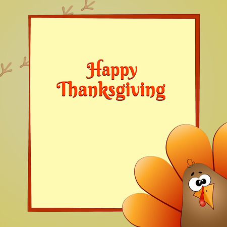 Banner with text Happy Thanksgiving Day in the frame Bird Turkey Drawing Line Festive Background Congratulation Vector