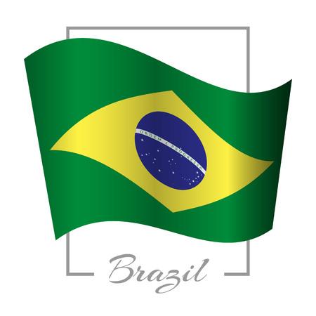 national flag of Brazil in a frame background vector illustration