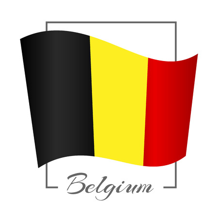 National flag of Belgium in a rectangular frame with the inscription of Belgium Background Vector