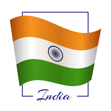 The national flag of India in a rectangular frame with the name of the country Background Vector