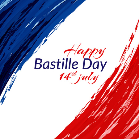 The national flag of France Blue white and red stripes grunge texture Happy Bastille Day 14 july Patriotic watercolor background of color of the flag of France on Day of the Bastille Vector