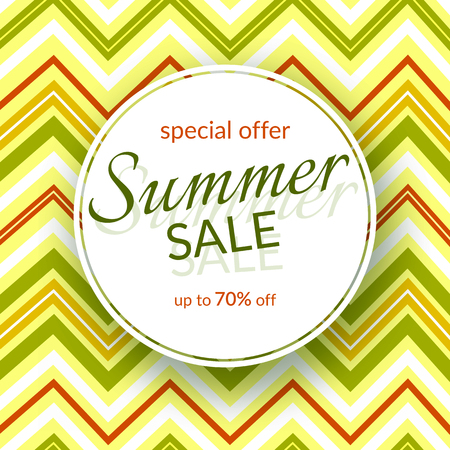 Round banner Summer sale special discount 70% off on a vintage geometric background retro theme Summer colors Design template advertising seasonal summer sales offers discounts Vector colorful banner Illustration