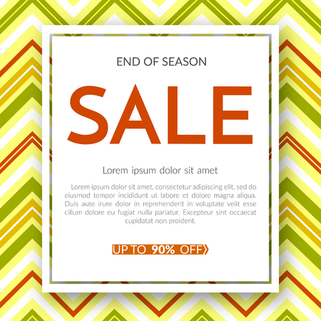 Geometric banner Super sale end of season 90% discount on a vintage geometric background retro theme Autumn colors Design template advertising seasonal autumn sales offers discount Vector retro banner
