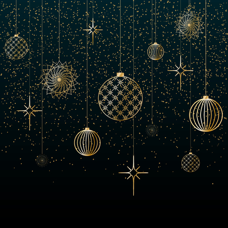 Christmas background Gold balls toys stars snowflakes glitter on a blue background Festive background for Christmas and New Year Pattern of gold lines toys balls a Christmas theme pattern Vector Heder