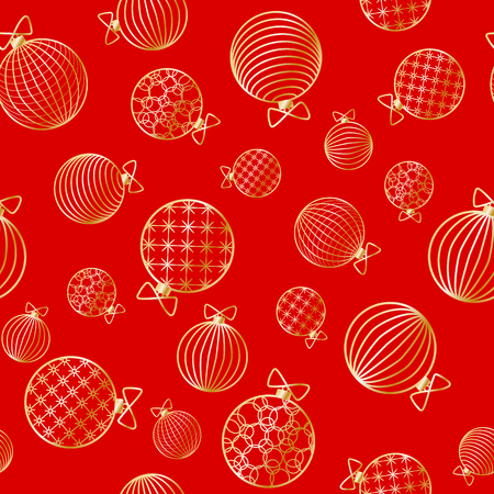 Seamless pattern with Christmas ball Winter festive background on New Year and Christmas ornament for greeting cards Pattern of golden line toy ball Christmas theme pattern wrapper for holiday Vector Vetores