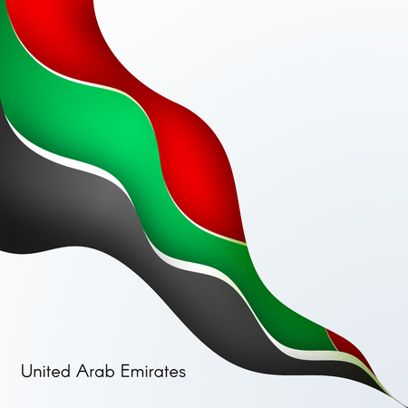Banner with wavy lines waveform colors of the national flag of United Arab Emirates UAE with the text of Happy National Day and Independence Day UAE For card banner on holiday theme Background Vector Illustration