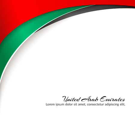 Template with colors of the national flag of United Arab Emirates UAE with the text of Happy National Day and Independence Day UAE For greeting card banner template on holiday Background Vector flag Illustration