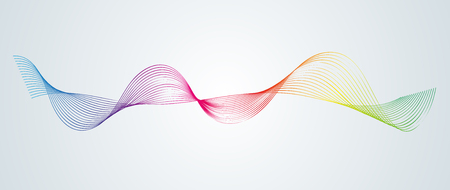Abstract smooth curved lines Design element Technological background with a line in the form of a wave Stylization of a digital equalizer Smooth flowing wavy stripes of a rainbow made by blends Vector Illustration