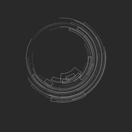 Abstract geometric background with concentric circles Light circles on a gray background graphic geometric lines Technology futuristic Design element for templates banners web Vector image Illustration
