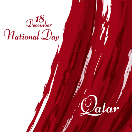 National flag of the Qatar Abstract grunge background of colors of the flag with the text of Happy National Day 18 december Qatar National symbol for template card holiday Abstract background Vector 矢量图像