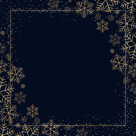 Winter dark festive background with golden snowflakes for Christmas and New Year Decorative snow pattern for postcard invitation advertising Empty template wallpaper Element of design Vector graphic