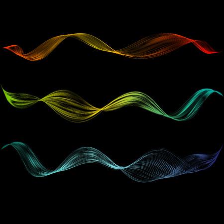 Abstrakte glatte geschwungene Linie Designelement Technologischer Hintergrund mit heller Wellenlinie Stilisierung von digitalem Equalizer-Audio Glatte, fließende Wellenstreifen aus Mischung Vektorgrafik-Set