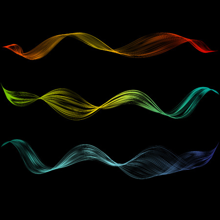 Abstract smooth curved line Design element Technological background with bright wavy colored line Stylization of digital equalizer audio Smooth flowing wavy stripes made by blend Vector graphic set