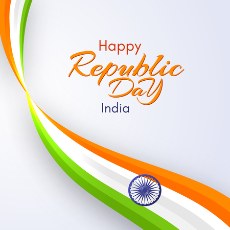 Card of the Happy Republic Day in India Template with text and wavy ribbon of colors of the national India flag Element design of postcard card banner poster Abstract background Vector creative ribbon