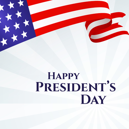 Banner text Happy Presidents Day American flag ribbon stars stripes on a light background Patriotic American theme USA flag of a wavy ribbon Design element for Presidents Day Patriotic ribbon Vector