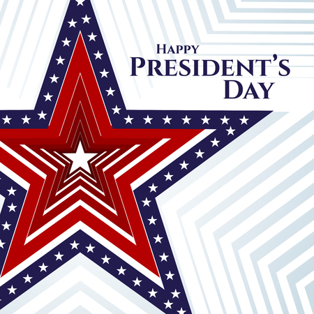 Happy President day text banner american flag star on a light background Patriotic american theme USA flag pattern star stripes Design element for Presidents Day Patriotic background wallpaper Vector