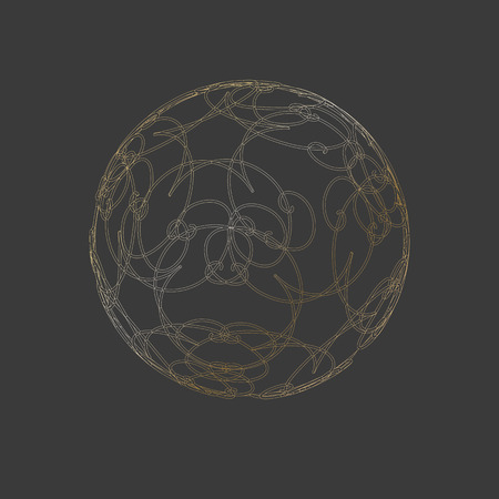 Sphere ball circle 3 d gold grid lines Ornate floral ornament pattern Design element artifact game abstract 3d grid line pattern ball shape sphere on a dark background Vector ethnic 3d circle grid