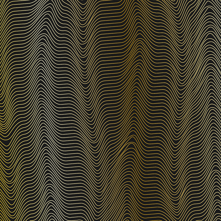 Abstract grid background with wavy golden lines of waveform Dynamic pattern of lines stripes the current flow of sound waves on a dark background Design element Vector grid background