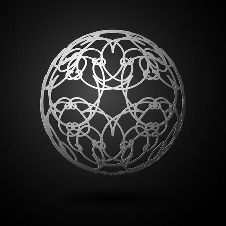 Sphere ball circle 3 d grid lines Ornate floral ornament pattern Design element artifact game abstract 3d grid line pattern ball shape sphere on a dark background Vector ethnic 3d circle grid