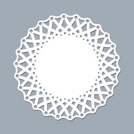 Modèle de mise en page serviette en dentelle pour la découpe de papier au laser Ornement de motif rond Maquette d'un cadre découpé au laser pour napperon en dentelle blanche Élément de conception pour la bannière d'invitation découpée au laser Napperon rond découpé au laser de vecteur
