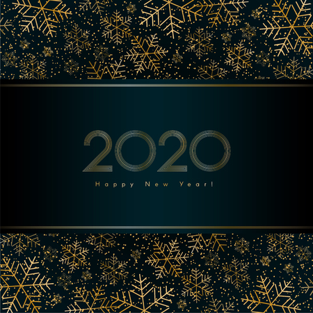 Christmas New Year 2020 luxury banner with gold snowflake glitter Blue festive banner layout card Christmas and New Year 2020 lines pattern of gold luxury snowflakes Design element luxury theme Vector