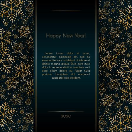 Christmas New Year luxury banner with gold snowflakes glitter Blue festive elegant banner layout card Christmas and New Year pattern of gold luxury snowflakes Design element layout luxury theme Vector Ilustração