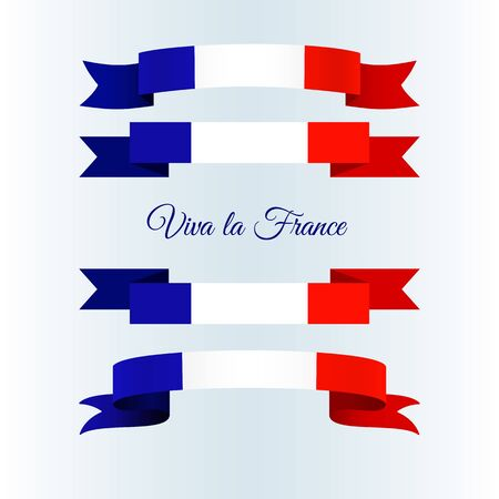 Ribbon icons flag of France on a light background Set Brochure banner layout with wavy lines of French flag ribbons and text Viva la France Patriotic abstract wavy tricolor france theme Vector icon