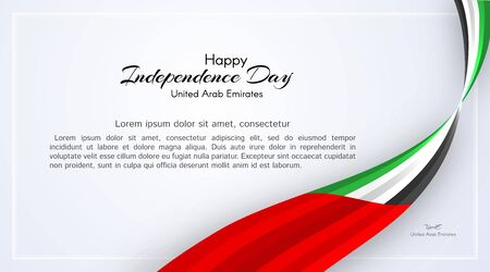 Card with wavy ribbon colors of the national flag of United Arab Emirates (UAE) with the text of Happy National Day and Independence Day UAE For card banner on holiday theme National background Vector Ilustração