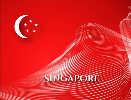 Banner Singapore flag on a red background Curved pattern white waveform line text Singapore Patriotic background for business card election brochure banner ad travel Theme Singapore flag Vector design