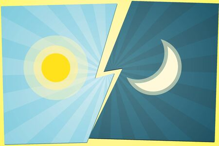 Versus VS Background Sun vs moon on the gap blue background of lines rays Creative template icon sun and moon battle day versus night Cartoon theme cute flat design of fight game contest Vector