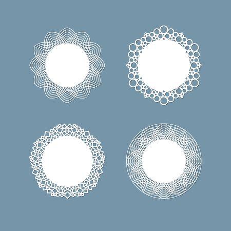 Conception de napperon en dentelle découpée au laser Ornement de motif rond Maquette de modèle d'un cadre découpé au laser de serviette de table ronde en dentelle blanche Définir l'élément de conception pour la bannière d'invitation vintage élégante découpée au laser Vecteur lac ? napperon