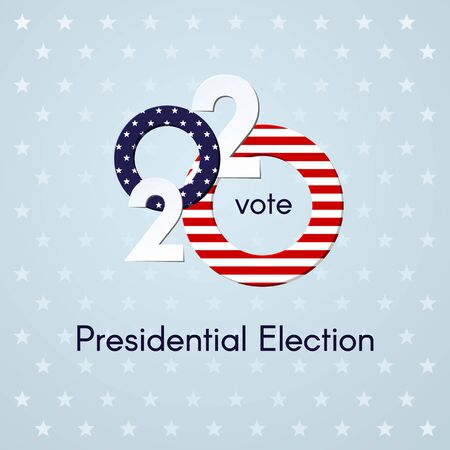 US presidential election Voting Number 2020 USA flag text Vote on a light background with stars Patriotic political theme of the American flag Banner poster USA Presidential Election vote 2020 Vector Ilustração