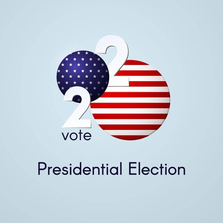 US presidential election Voting Number 2020 USA flag text Vote on a light background Patriotic political theme of the American flag Banner poster USA Presidential Election vote 2020 element Vector Ilustração