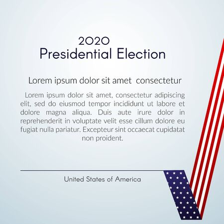 US presidential election Voting 2020 Text Vote with a tick USA flag on a light background Patriotic american flag theme Banner poster card USA Presidential Election 2020 checkmark vote sign Vector