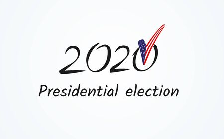US presidential election Voting Number 2020 text Vote with usa flag checkmark on a light background Political theme of the American flag Banner poster card USA Presidential Election vote 2020 Vector Ilustração