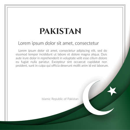 Islamic Republic of Pakistan flag theme Card with waveform ribbon color of the national flag of Pakistan For business card banner on holiday flag theme National pakistani patriotic background Vector Ilustração