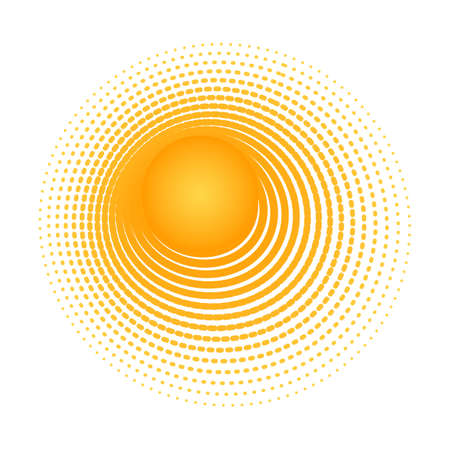 Solar radial pattern Orange abstract banner from lines Sun shape design element with a lines pattern rays Decorative sun icon solar symbol for creative design of summer spring theme Vector solar sign Ilustração