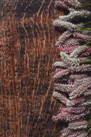 Lilac flowers on dark wooden background, Flatley, shot from above, macro 版權商用圖片 - 134888544