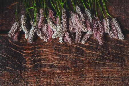 Lilac flowers on dark wooden background, Flatley, shot from above 版權商用圖片 - 134888546
