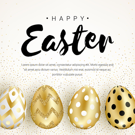 Happy Easter banner concept decorated with realistic shine golden eggs isolated on white background. Vector illustration for greeting card, ad, promotion, poster, flyer, web-banne