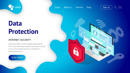 Data protection landing page. Internet security Web design vector template. Isometric illustration with laptop, shield. Safety and confidential personal information concept. For web, ui, mobile app