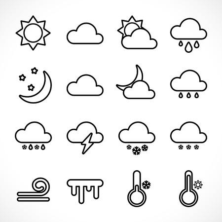 Zestaw ikon pogody zarys sieci web. Kolekcja ikon linii do druku, sieci lub aplikacji mobilnej