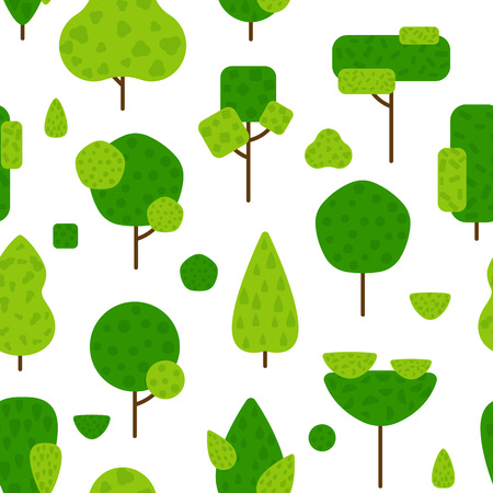 Seamless flat pattern with textured trees and bushes on white. Green forest summer background. Nature landscape with simple plants vector illustration. For print, fabric, web, banner, flyer, poster Stock Illustratie
