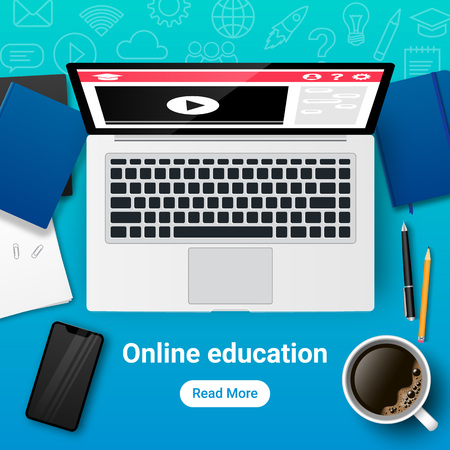 Top view of workplace for study and work. Online education banner. E-learning vector illustration concept with laptop, notebook, books, phone, coffee, documents, text, button, icons