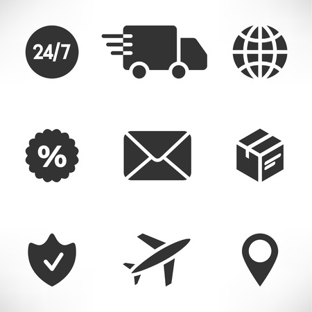 Delivery Icons Set. Vector illustration of Shipping. Contains plane, van, mail, box, planet, geolocation, sale, protect and schedule icons