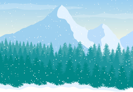 Hand Drawn snowy Mountains landscape. Nature vector background. Pine Forest. Vector illustration in flat style for web, print or apps