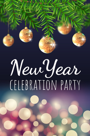 New year celebration party banner with Christmas tree, golden balls and bokeh lights. Vector illustration. Background for flyers, invitations, web or apps